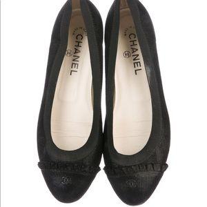 Chanel CC Black Suede Flats w/Ruffle Detail sz. 39